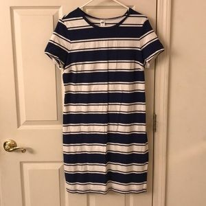 Old Navy Blue & White Striped T-Shirt Dress